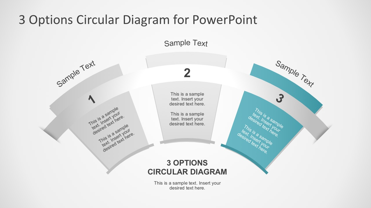 3 Options Circular Fan Diagram For Powerpoint Of A