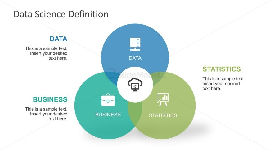 Powerpoint Venn Diagram Of Data Science Slidemodel