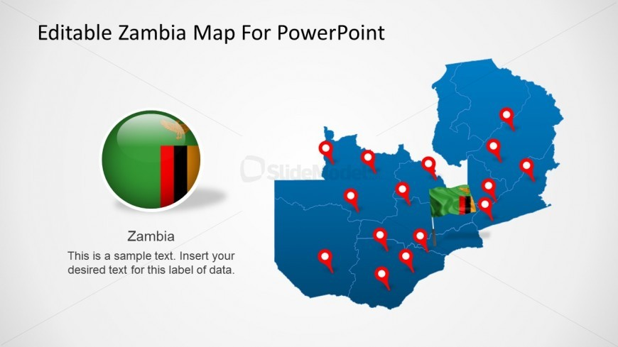 PPT Map Editable States of Zambia