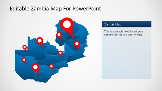 Editable Zambia Map with GPS Locator Icons