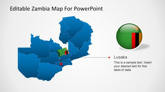 PowerPoint Template Map of Zambia with Flag