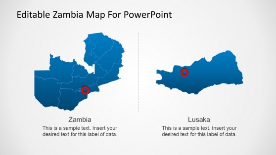 PowerPoint Map of Zambia With Capital Locator
