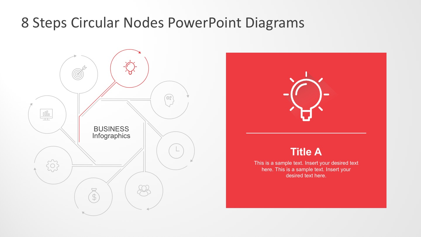 Circular Process Charts with 8 Steps for PowerPoint