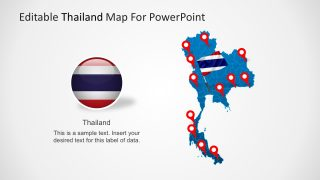 Editable Map of Thailand PowerPoint