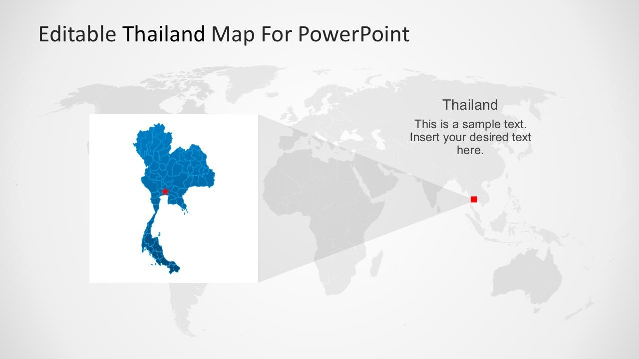 Editable PowerPoint Map of Thailand