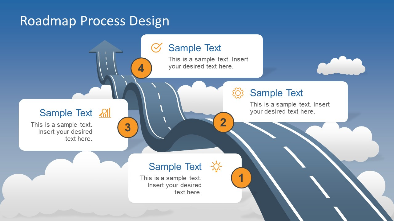 roadmap into sky metaphor powerpoint template slidemodel