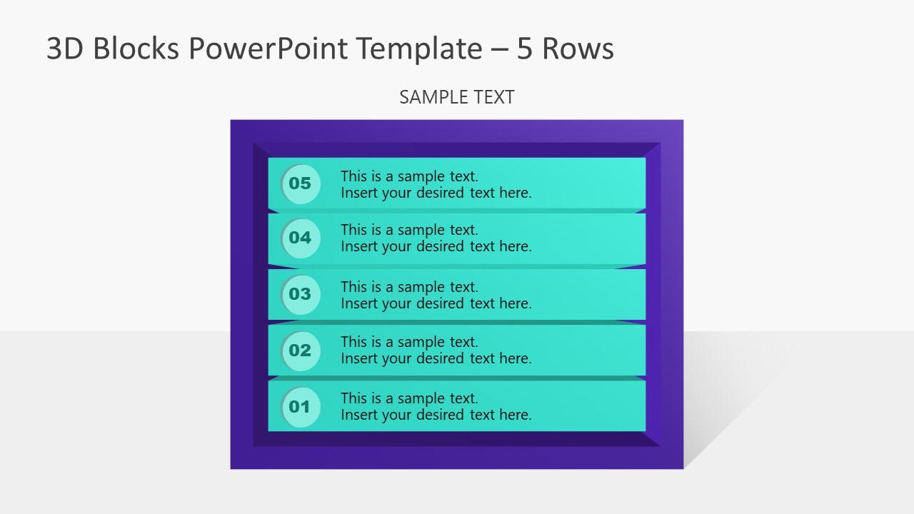 PowerPoint Templates 3D Diagram 5 Block