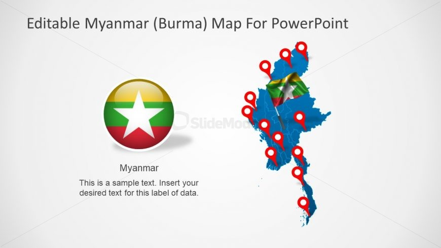 Flag and Map of Myanmar Burma
