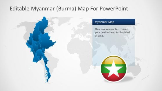 PowerPoint Creative Map of Myanmar