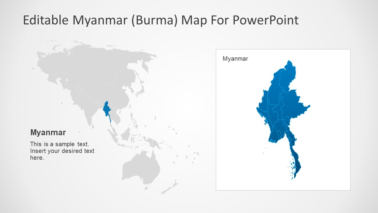 Editable Myanmar PowerPoint Map SlideModel - Burma in world map