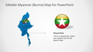 Myanmar Map with Pole Flag