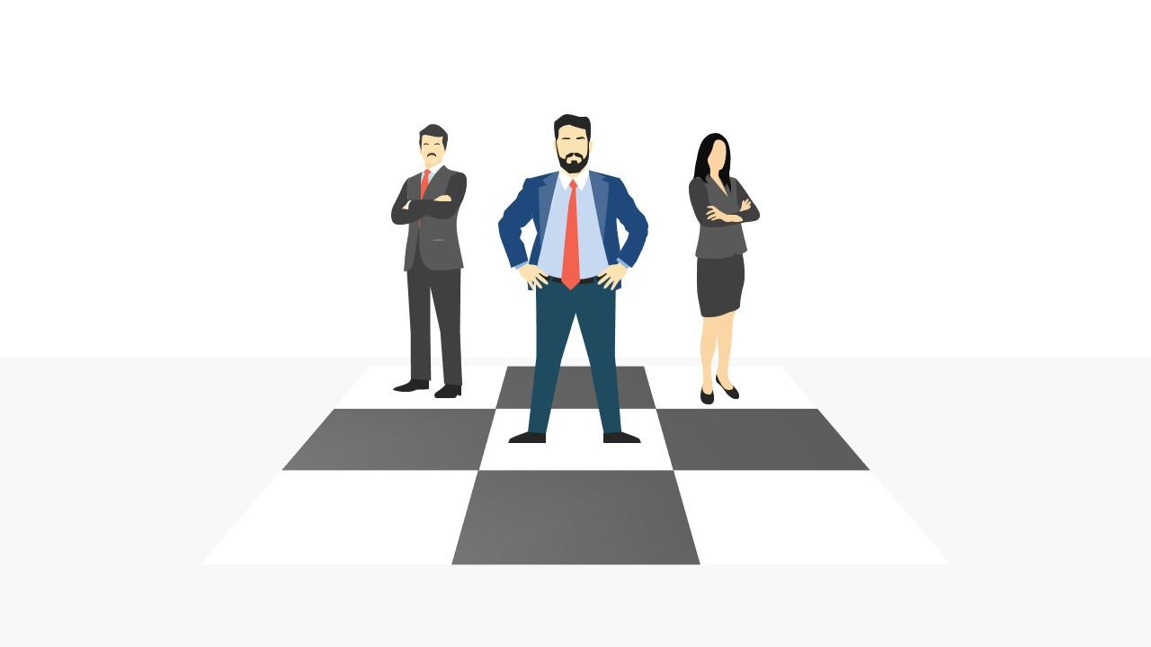 Business Professional Illustration on Checker Board