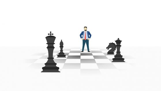 Leader and Success Concept Checkmate PowerPoint