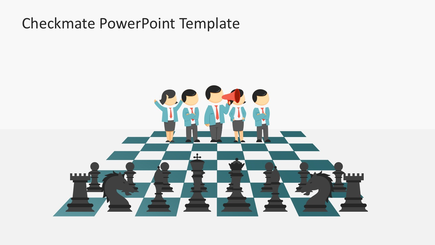 Complete Set Chess Board Game in 3D PowerPoint