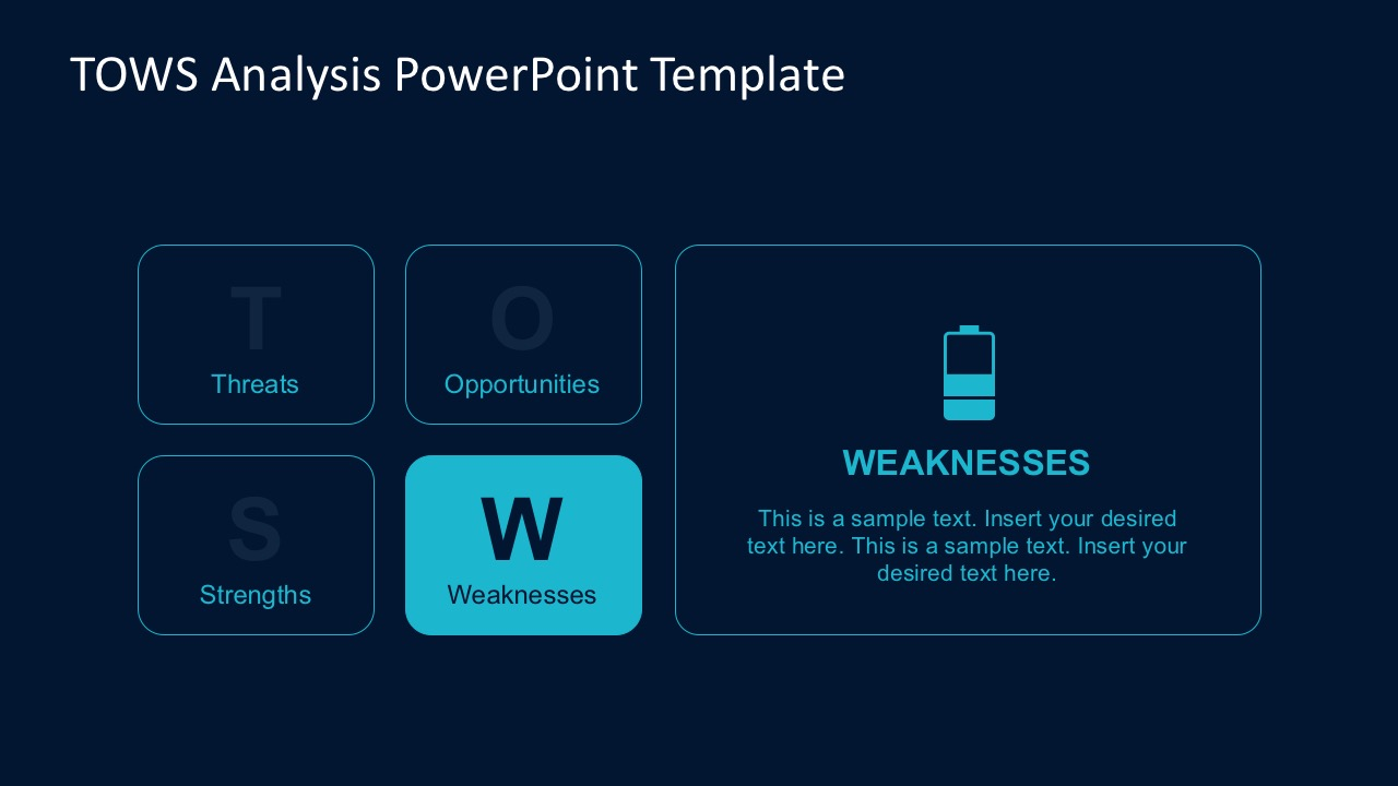 Blue Themed TOWS Matrix Powerpoint