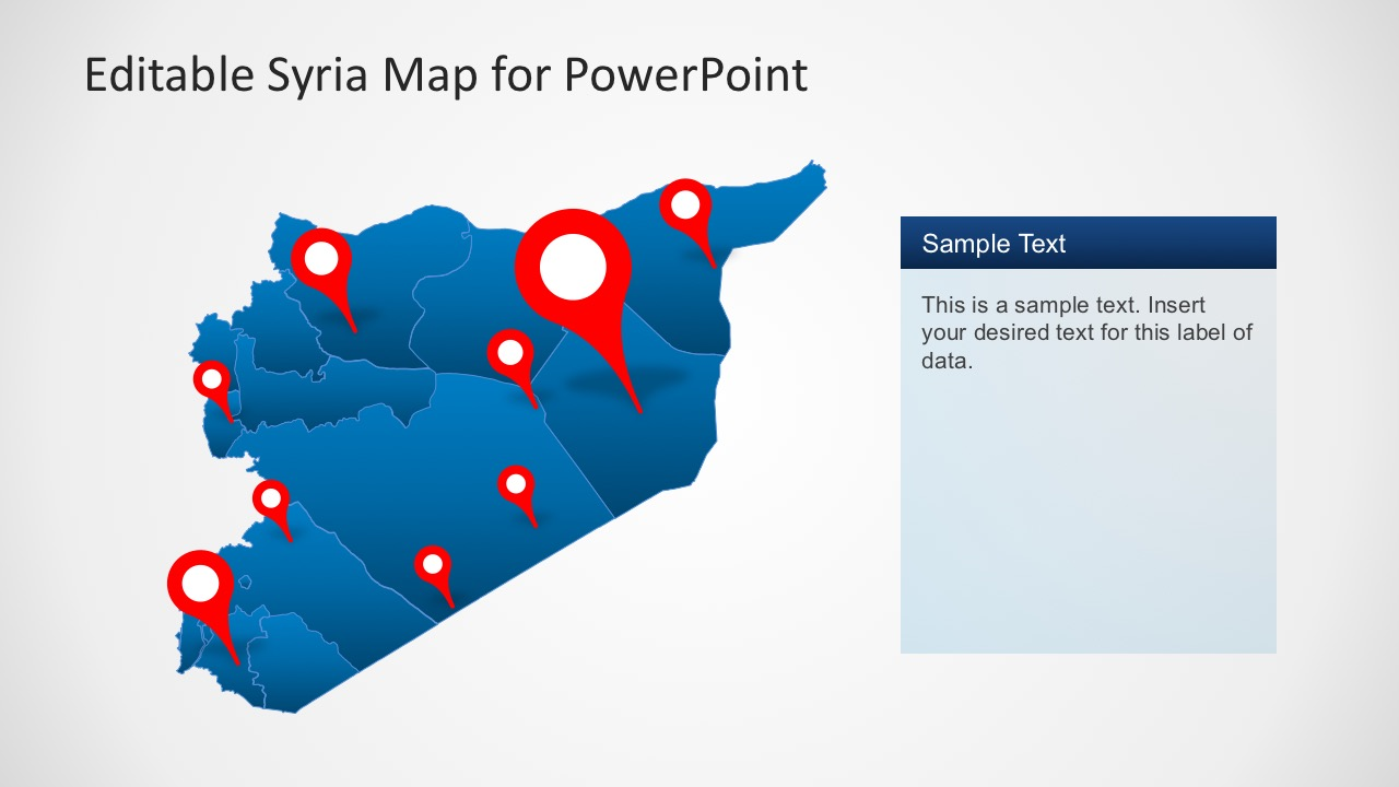 Syria Map with Pin Markers