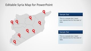 Flat Syria Map Template PowerPoint