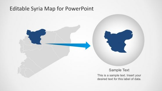 Editable Syria Map Vectors PowerPoint