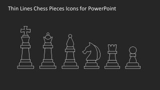 Thin Icons Chess Pieces Black Background