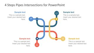 Four Steps Pipes Intersection PowerPoint Templates