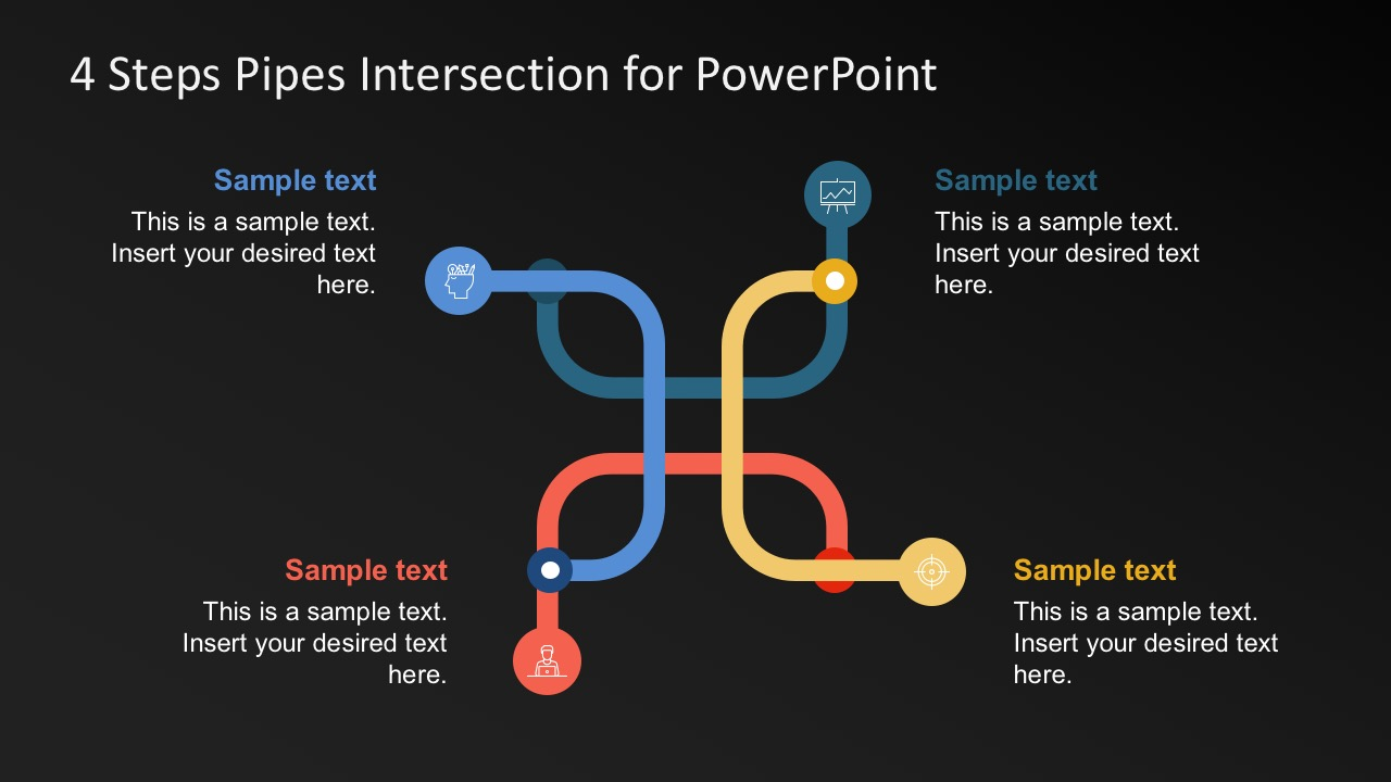 Four Steps Pipes Intersection Powerpoint Templates Slidemodel