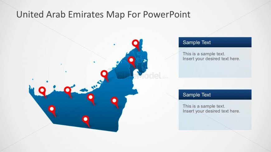 PowerPoint Map of United Arab Emirates