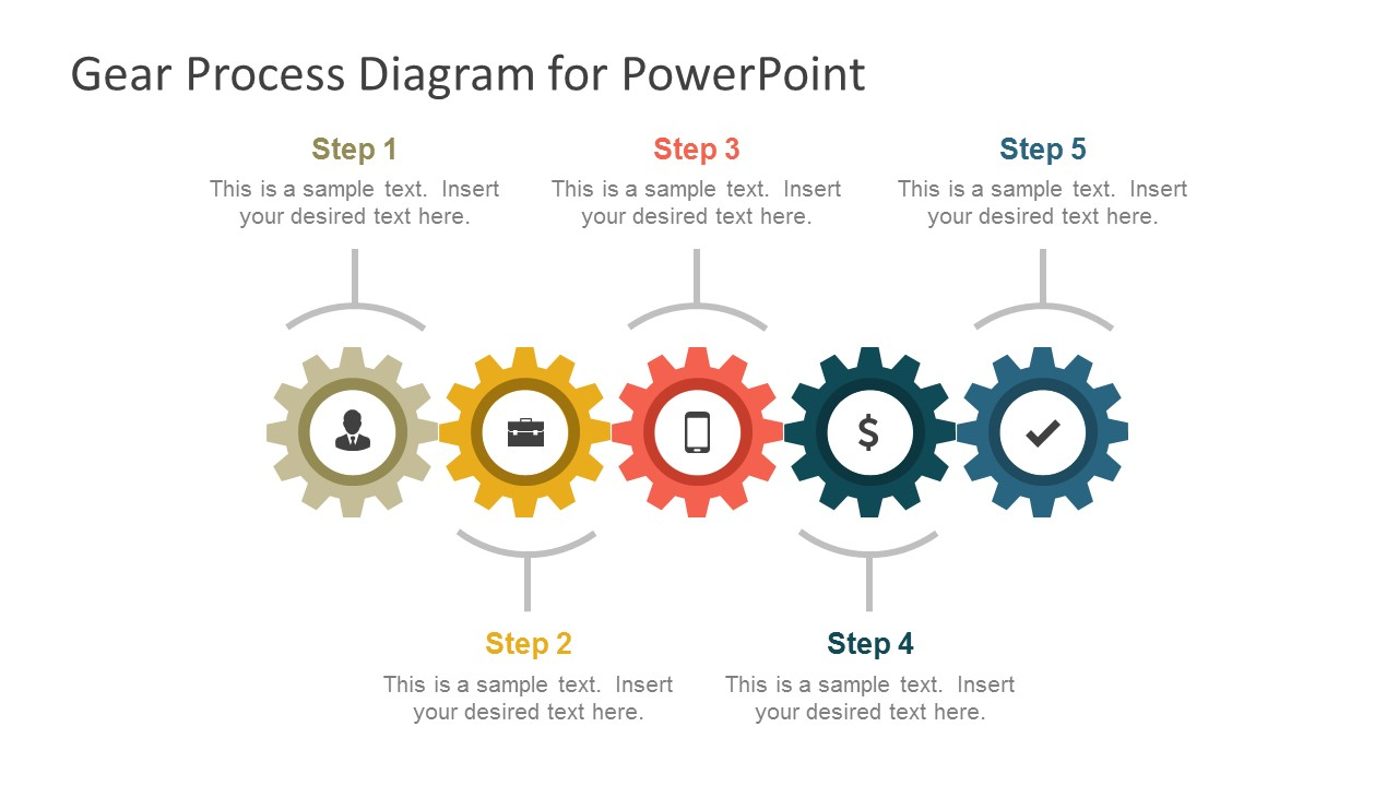 Gear process diagram powerpoint template slidemodel 5 step gear process diagram slide toneelgroepblik Choice Image