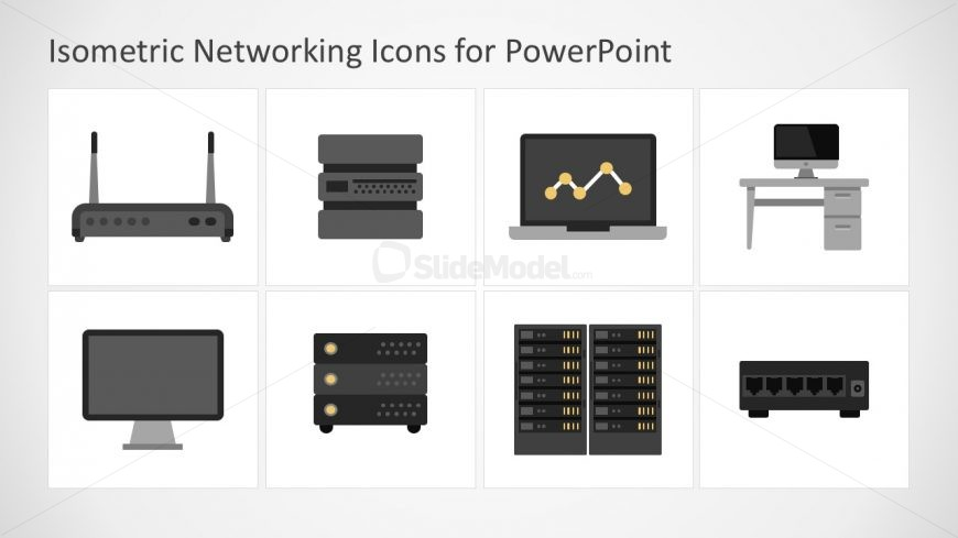 Flat Computer Networks Icons