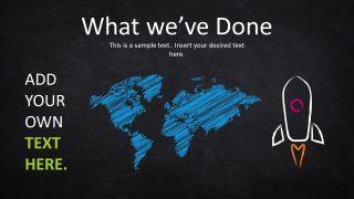 World Map PowerPoint Shape Chalk Texture