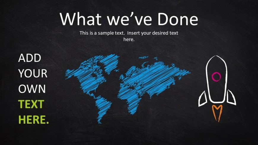 World Map PowerPoint Shape Chalk Texture