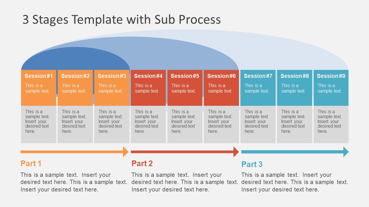 3 stages template with sub process slidemodel process diagram with sub processes colorful template toneelgroepblik