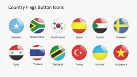 Colorful Icon Buttons Country Flags