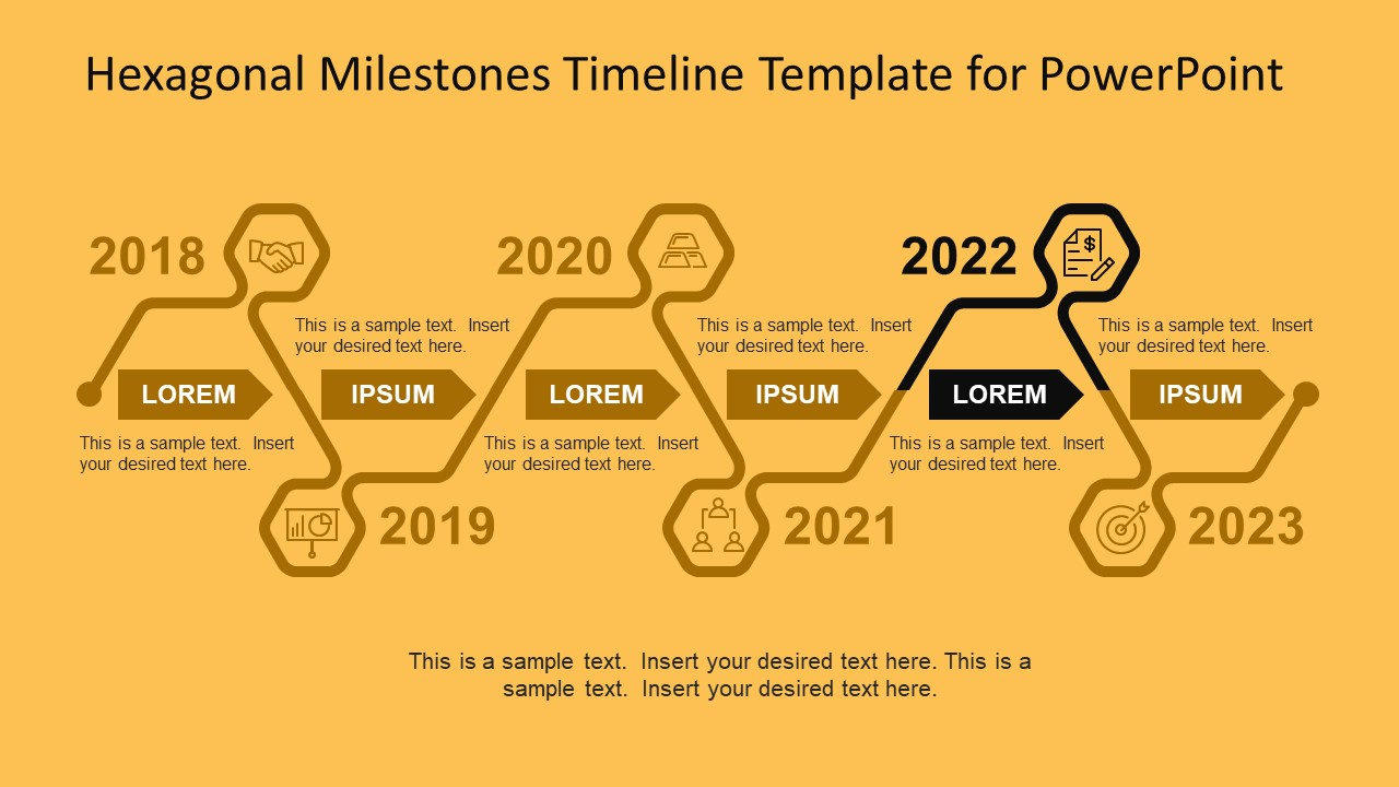 Hexagonal Milestones Timeline Template For PowerPoint SlideModel - Yearly roadmap template