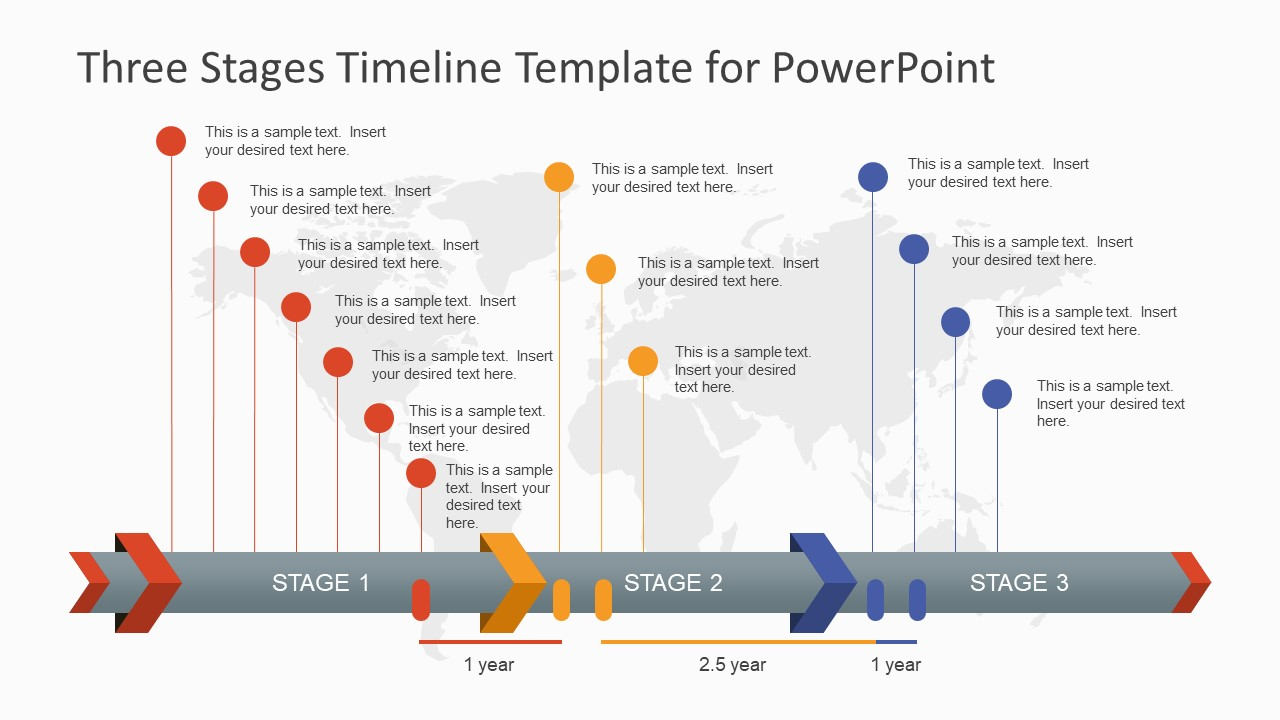 Three Stages Timeline Template For PowerPoint SlideModel - Template of a timeline