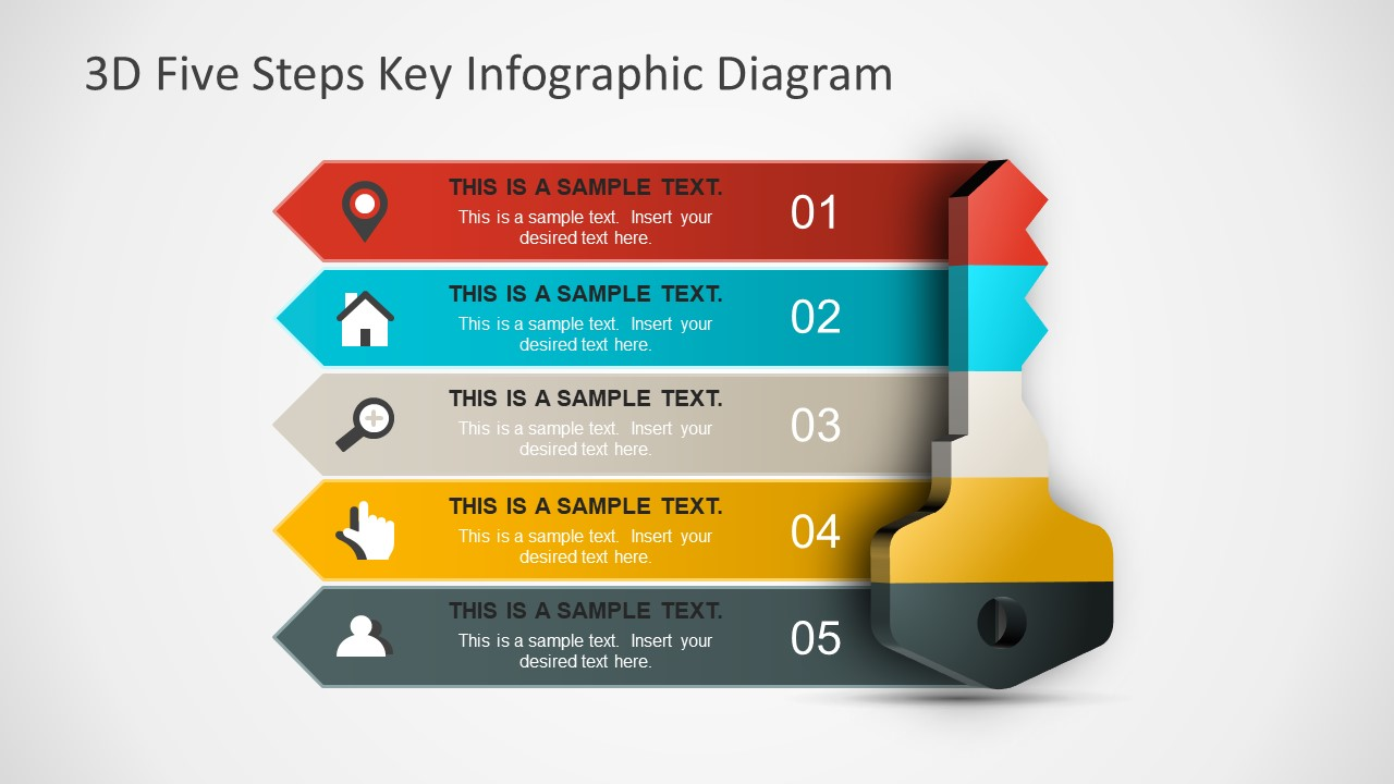 3d Five Steps Key Infographic Diagram Slidemodel