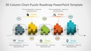 3D Column Chart Puzzle Roadmap PowerPoint Template