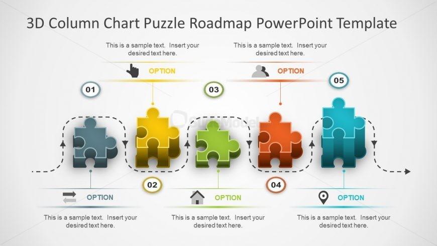 3D Puzzle Blocks PowerPoint Shapes