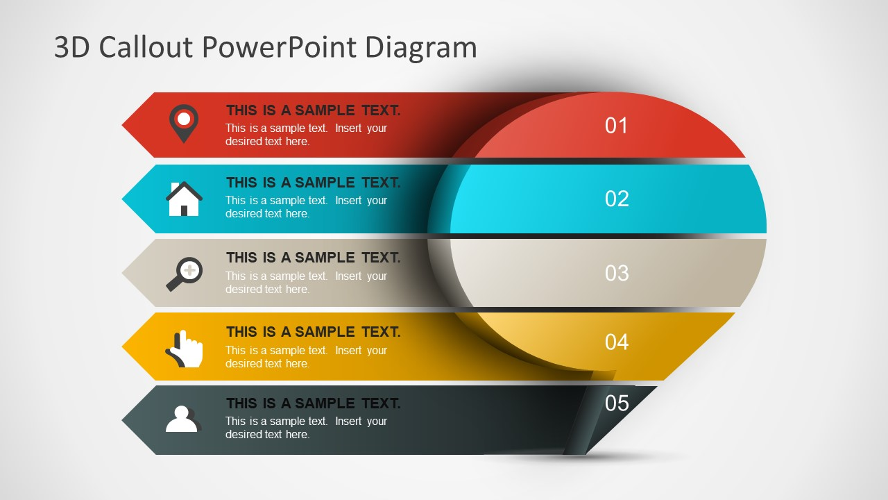 3d callout powerpoint diagram slidemodel