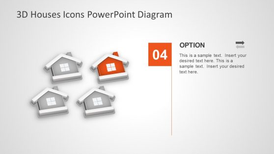 3D PowerPoint Template of Houses Diagram