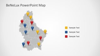 Location Pins in PowerPoint Luxembourg Map