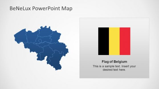 Blue Editable Map of Belgium in PowerPoint