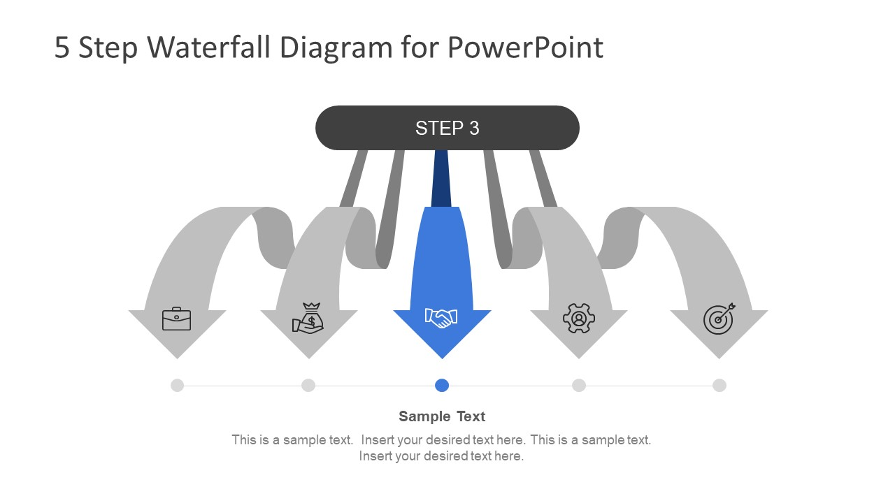 5 Step Waterfall Diagram for PowerPoint Template