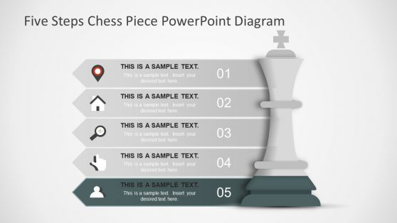 Flat Design Five Step PowerPoint Chess Piece