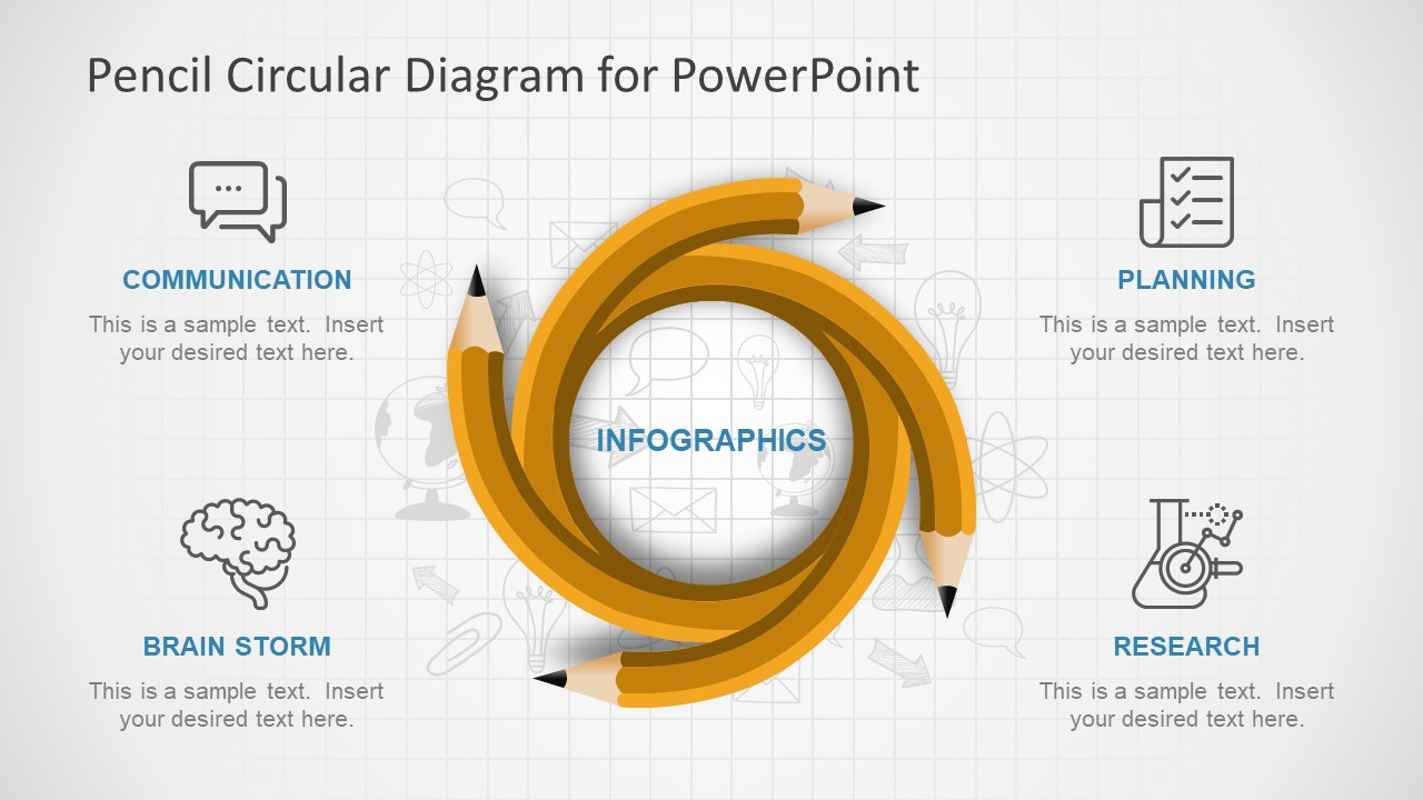 PowerPoint Slide of Circular Pencil Diagram