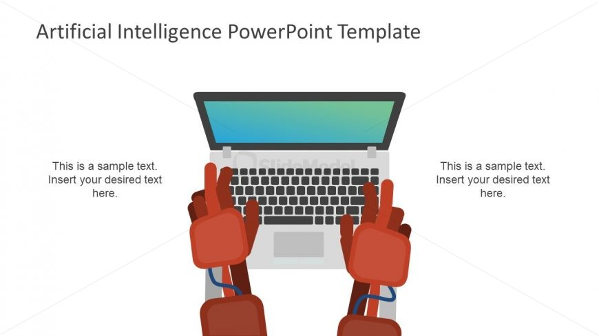 Robotic artificial intelligence presentation slide slidemodel robot hand illustration slide template toneelgroepblik Choice Image