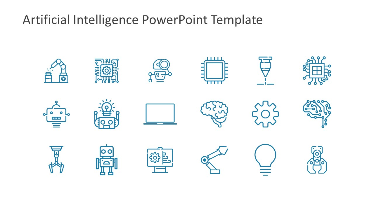 Artificial intelligence powerpoint template slidemodel template simple icons presenting artificial intelligence toneelgroepblik Images