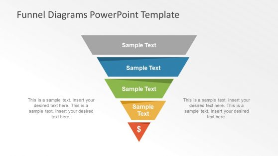 Editable Five Step PowerPoint Funnel