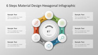 6 Step Material Design Hexagonal Infographic