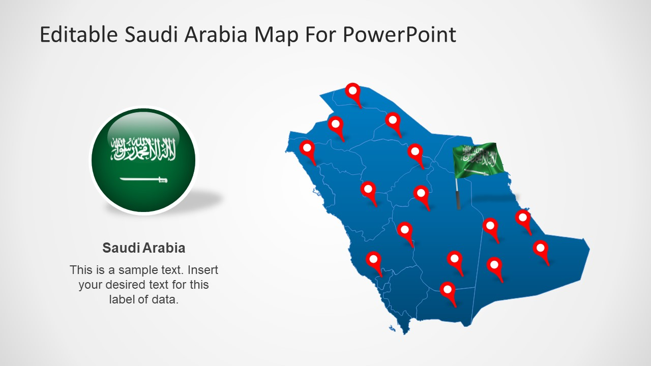 Editable Saudi Arabia Map Template for PowerPoint SlideModel