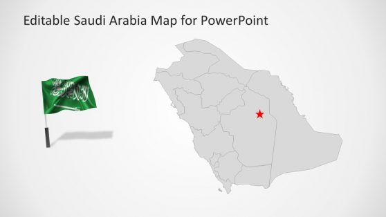 Flag Pole and Map of Saudi Arabia Slide